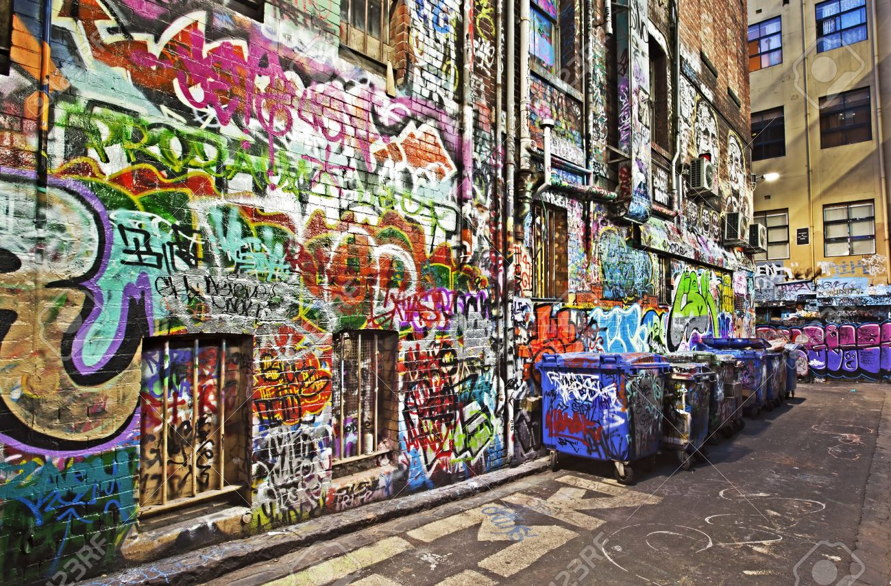 An Alleyway In Melbourne Covered In Graffiti