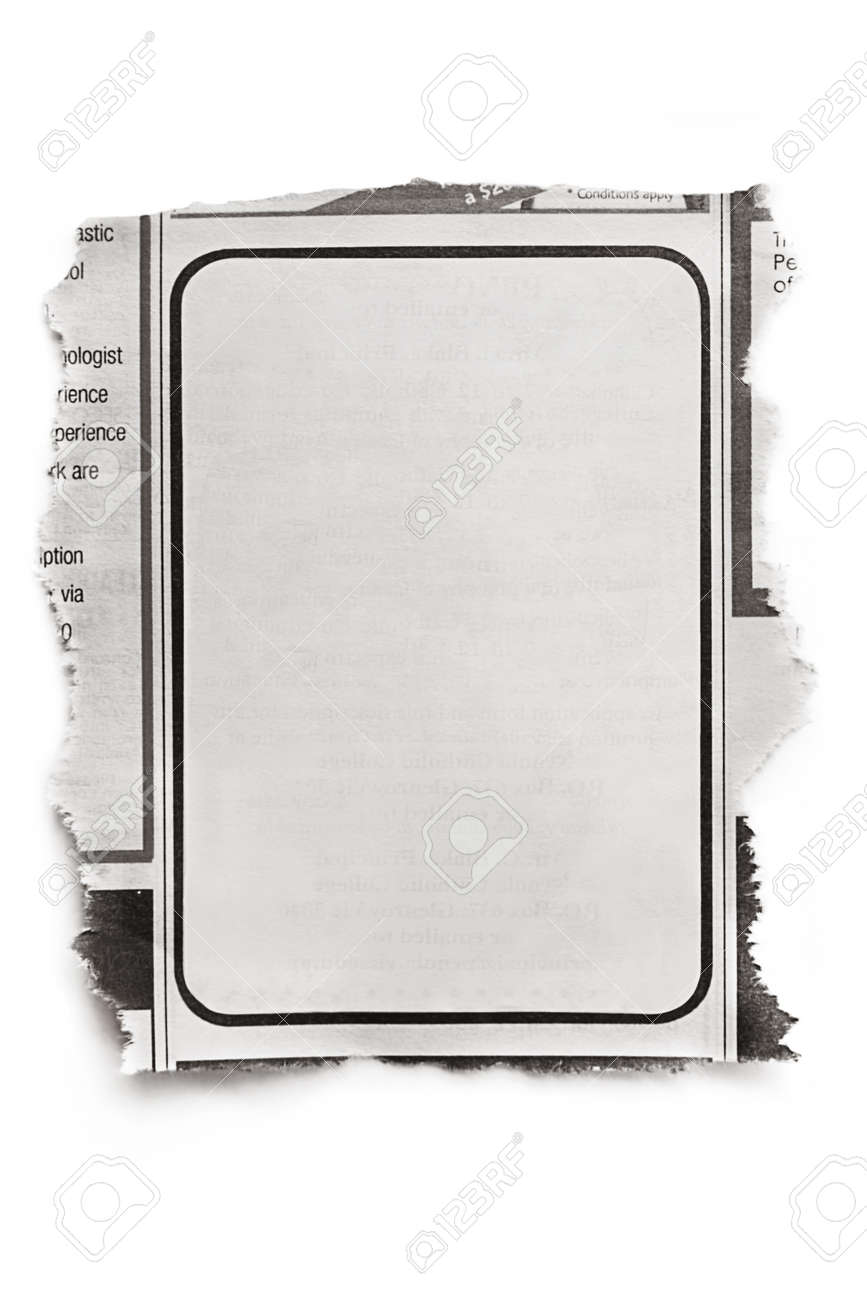 Blank Newspaper Ad Ready For Your Text Isolated On White With – Newspaper Ad Template