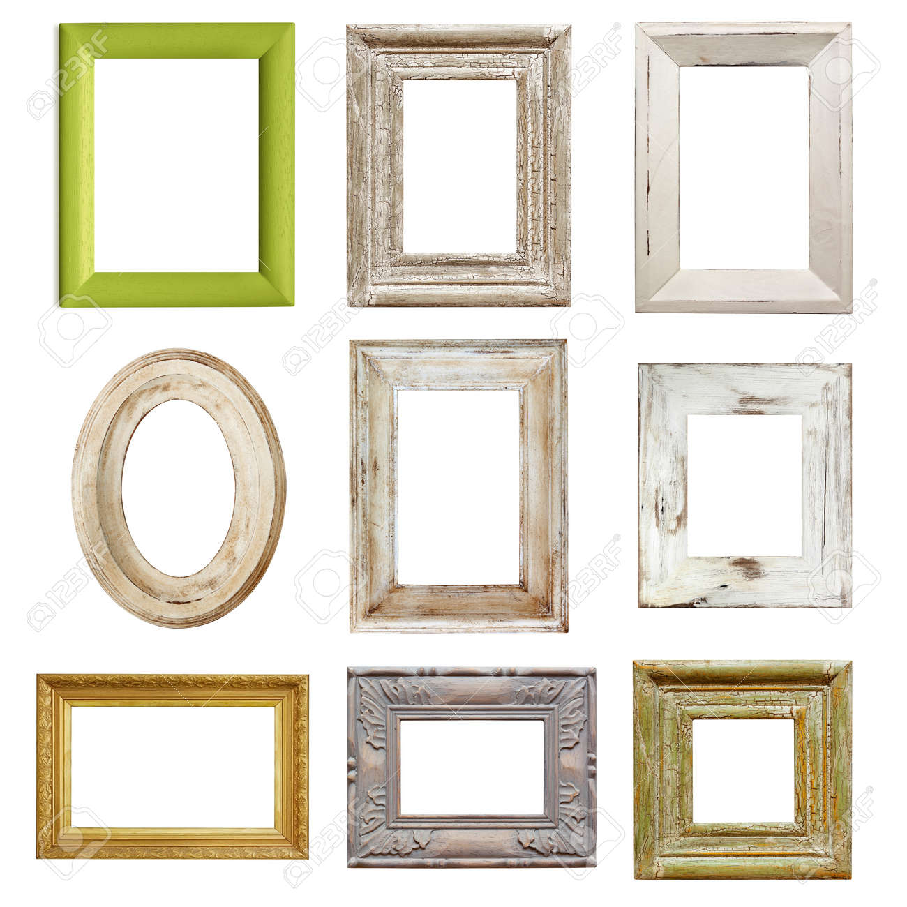 Collection Of Shabby Chic Distressed Picture Frames, Isolated. Stock ...