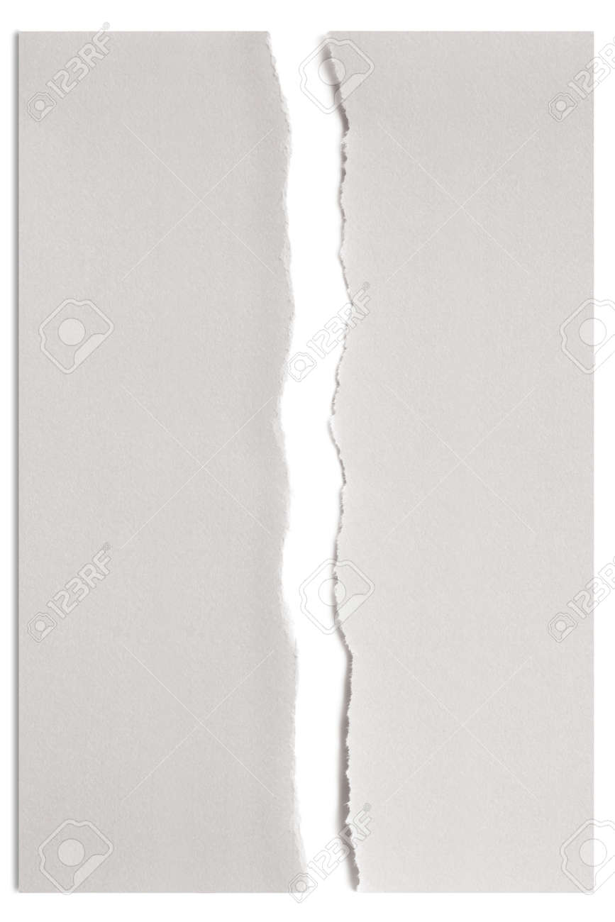 White Paper Torn In Half Over White With Soft Shadow Stock Photo Picture And Royalty Free Image Image 14921668