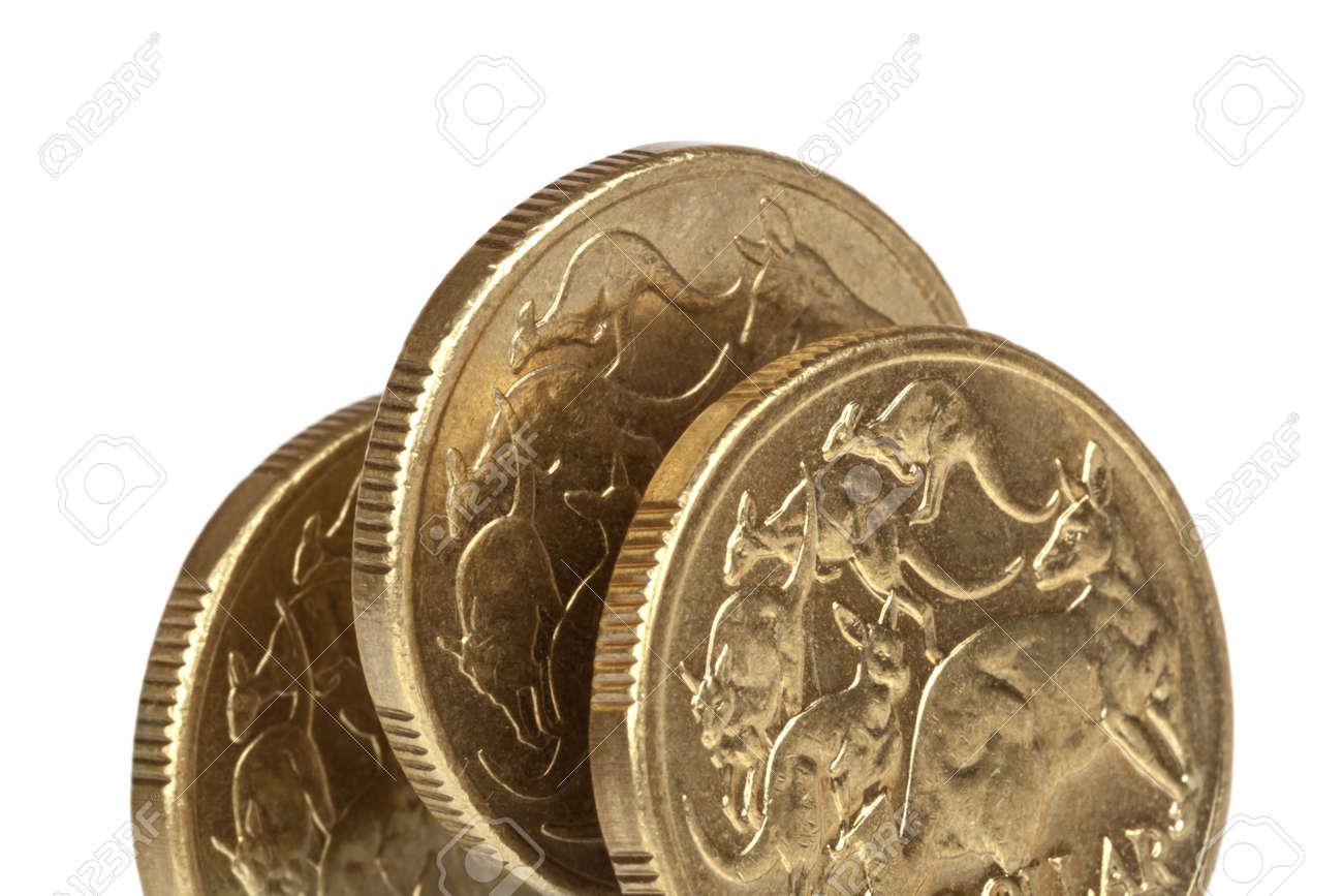 Australische Dollar Münzen Auf Der Kante über Weißem Hintergrund