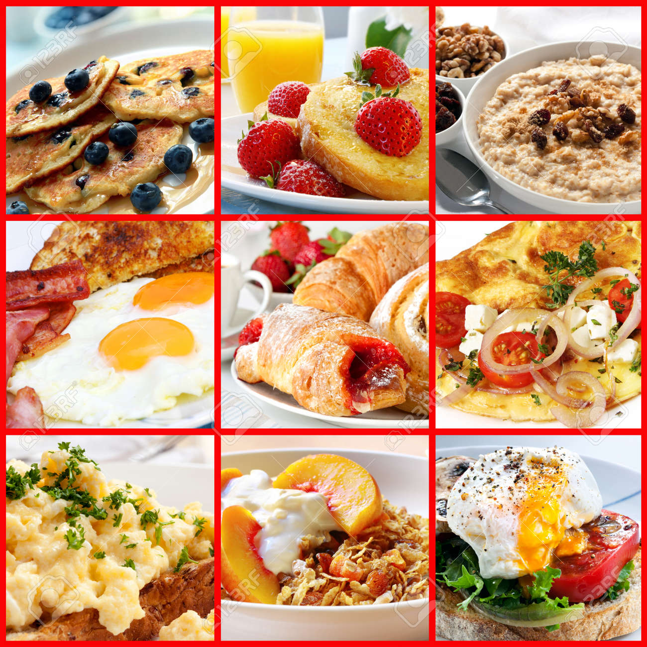 Collage of breakfast images.  Includes pancakes, french toast, oatmeal, bacon and eggs, continental, omelet, muesli, and poached egg. Stock Photo - 23580035