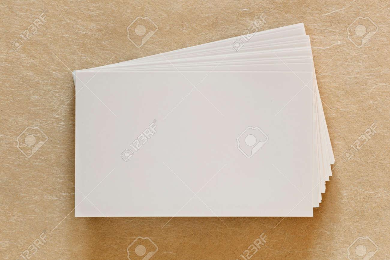 Pile De Vierges Blanches Cartes Visite Sur Fond Papier Texture
