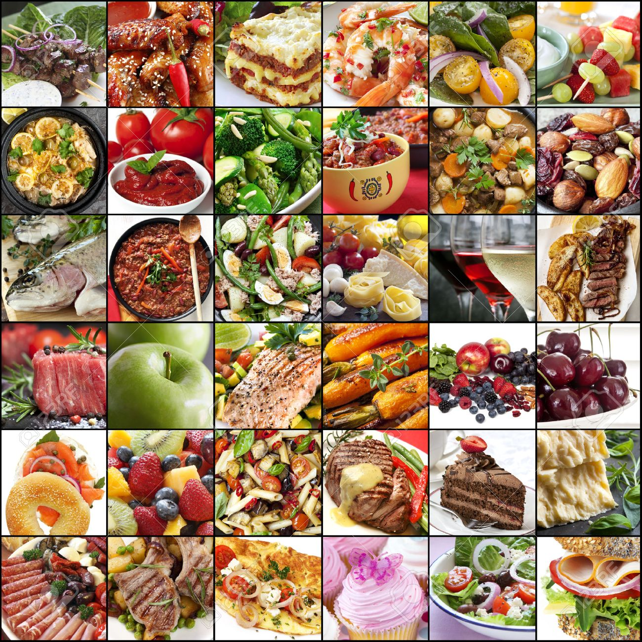 Big Collage Of Food Images Variety Of Meals Meat Fish Fruits