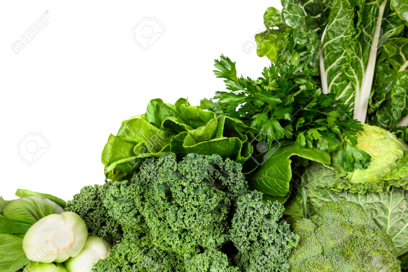Variety of green vegetables, over white background. - 39761334