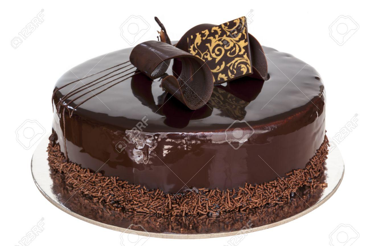 Feinster Schokolade Kuchen Ganz Isoliert Auf Weissem Hintergrund