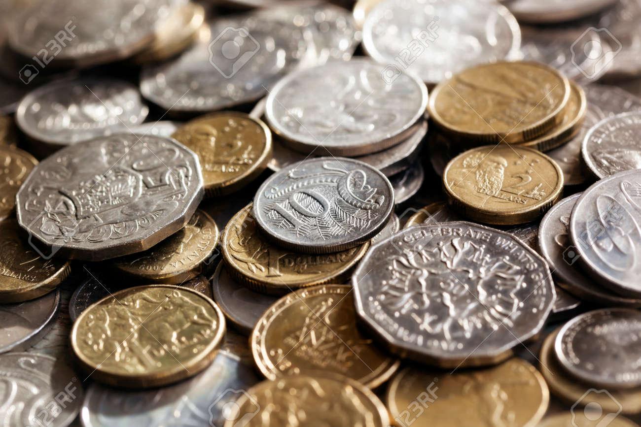 Australian money. Scattered coins in full-frame background. - 43763790