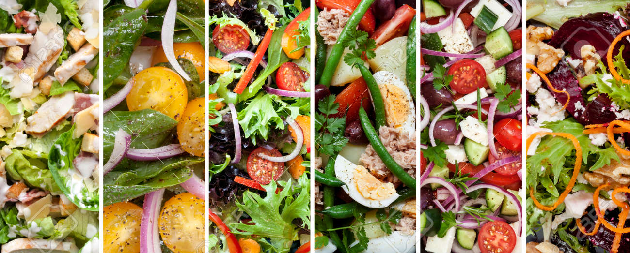Collage of healthy salads. Includes chicken caesar, spinach, garden, nicoisse, greek and beetroot and walnut. - 43880436