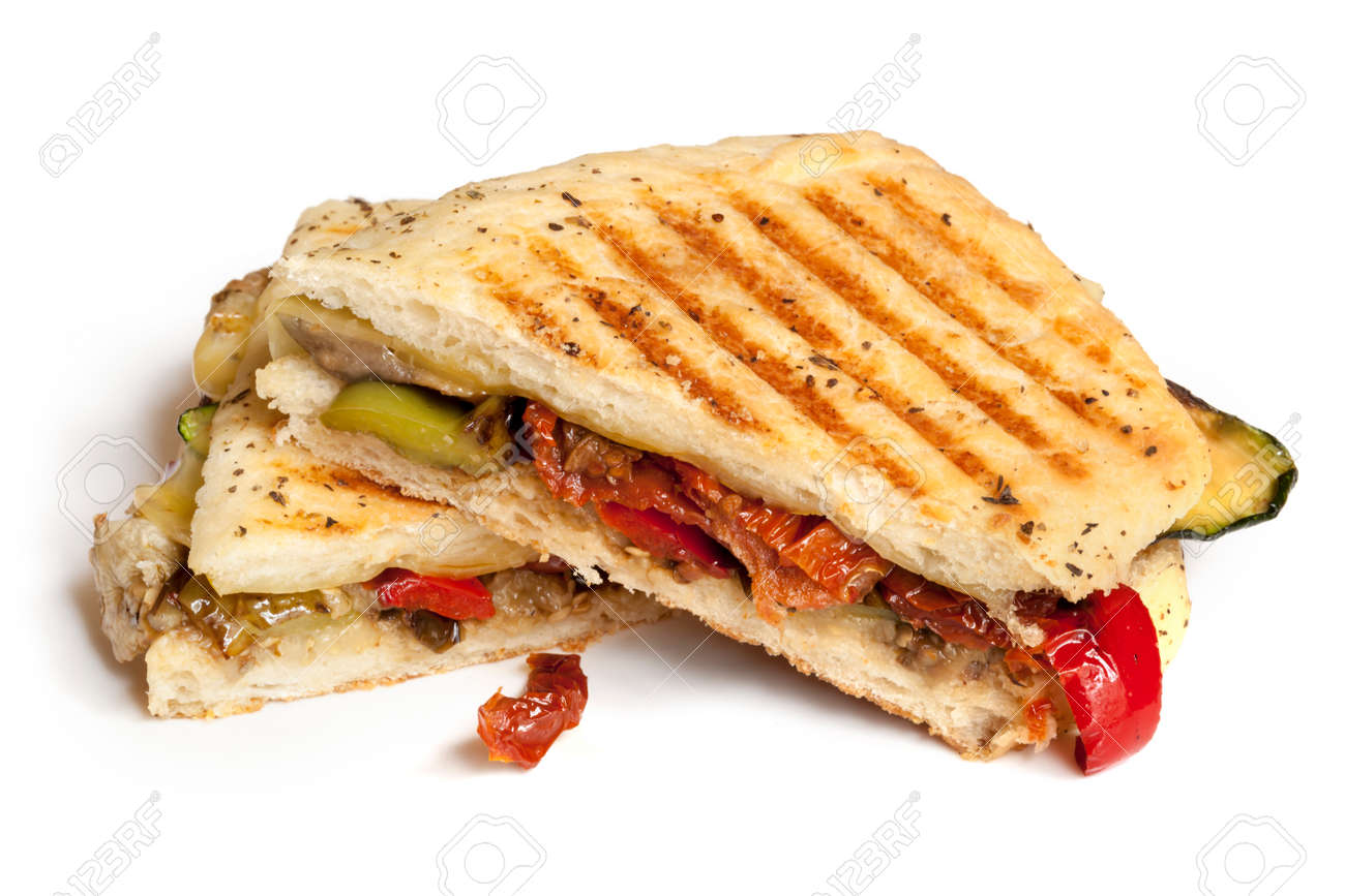 Grilled vegetable focaccia or panini isolated on white. Delicious healthy sandwich. - 48432291