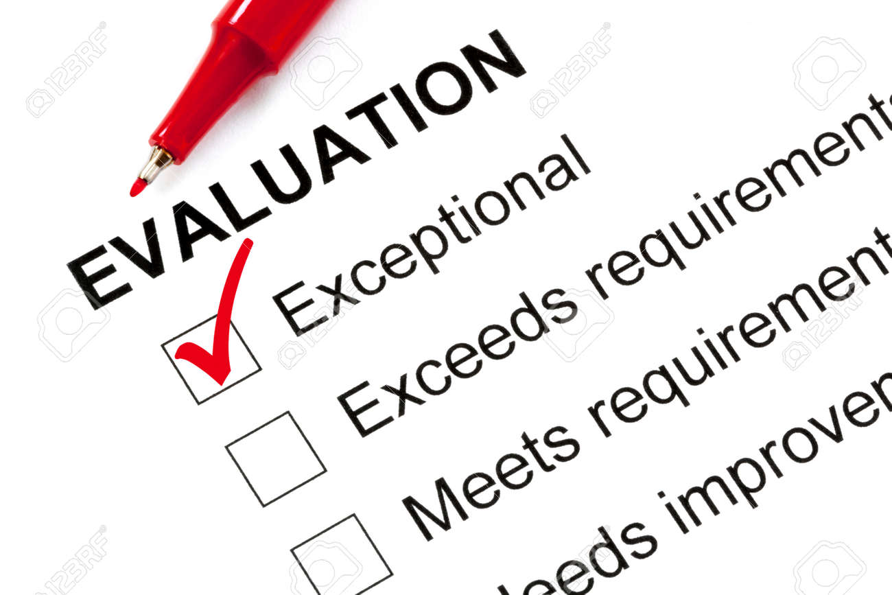 """Evaluation form marked """"exceptional"""" with red pen. - 50839090"""