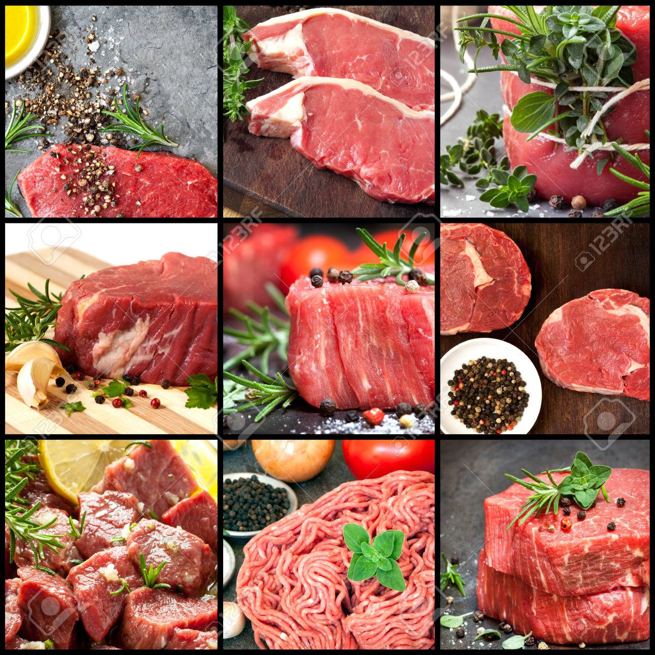 Collection of raw beef images. Includes herbs and spices. - 51357562