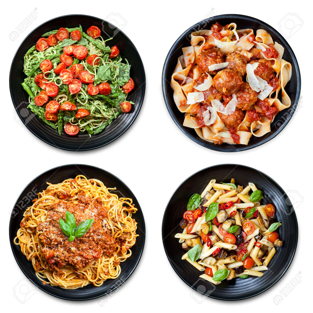 Pasta collage of meals on black plate, isolated on white. Overhead view. Includes spaghetti, fettucine, penne and ribbon. - 51812095