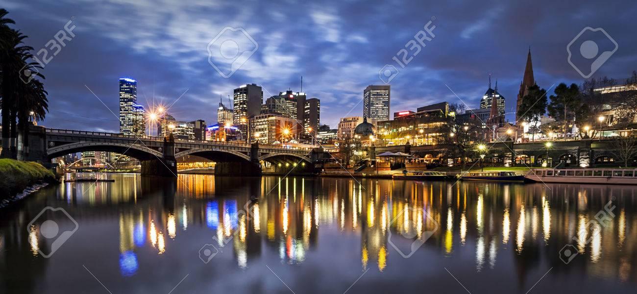 Melbourne, Australia, by night. Yarra River and Princes Bridge. - 53777748