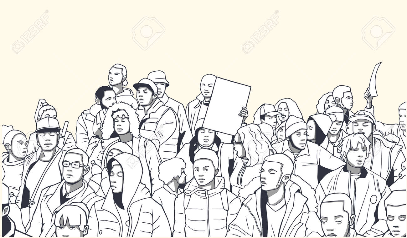 Illustration of mixed ethnic crowd demonstrating for human rights with blank signs - 79168113