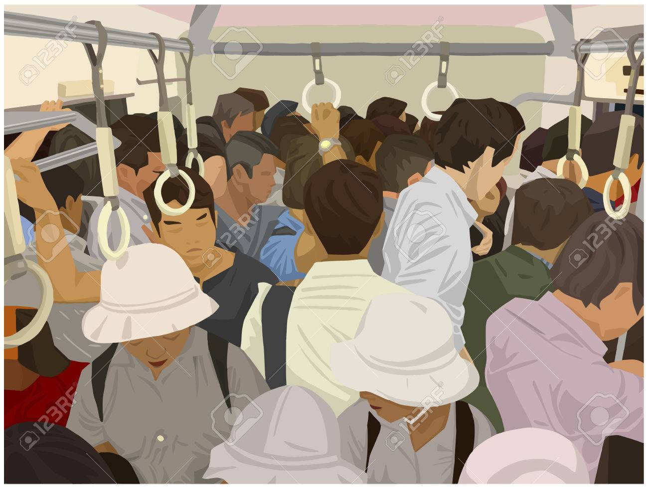 Illustration of crowded commuter train in color - 83785172