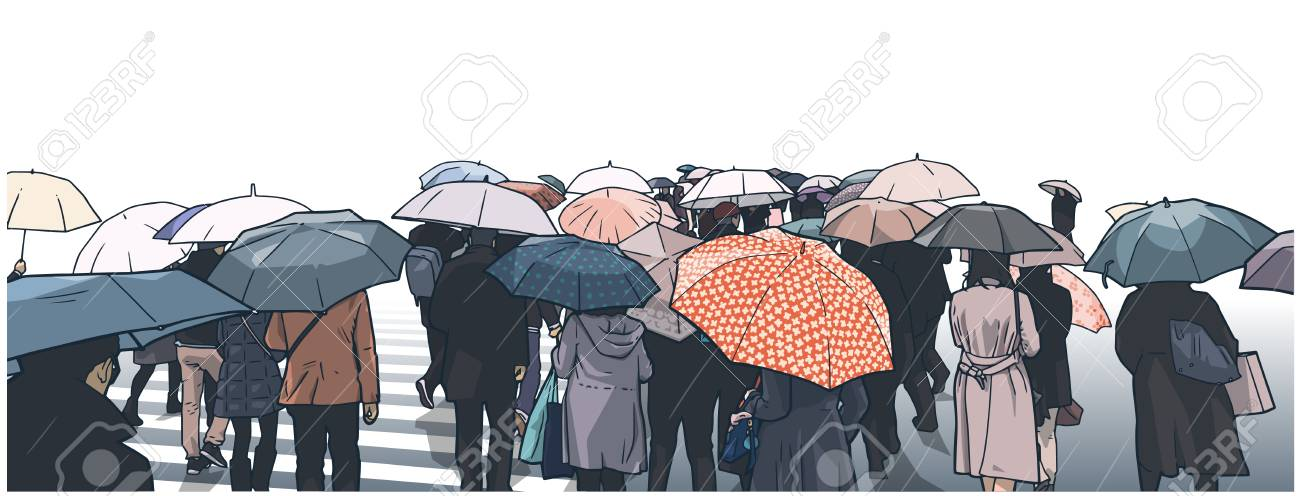 Illustration of crowded people crossing the street in the rain
