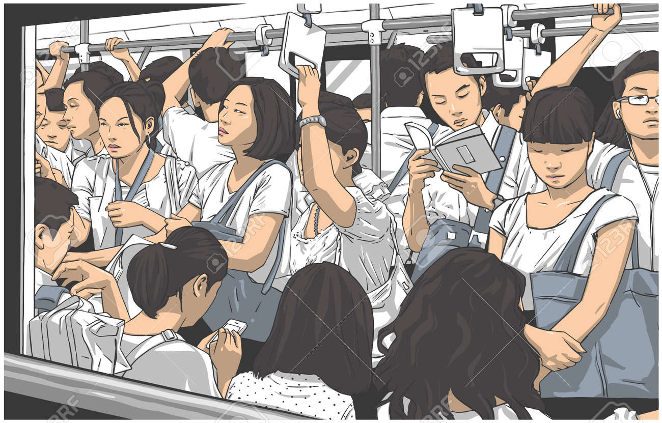 Illustration of crowded metro, subway cart in rush hour - 96526242