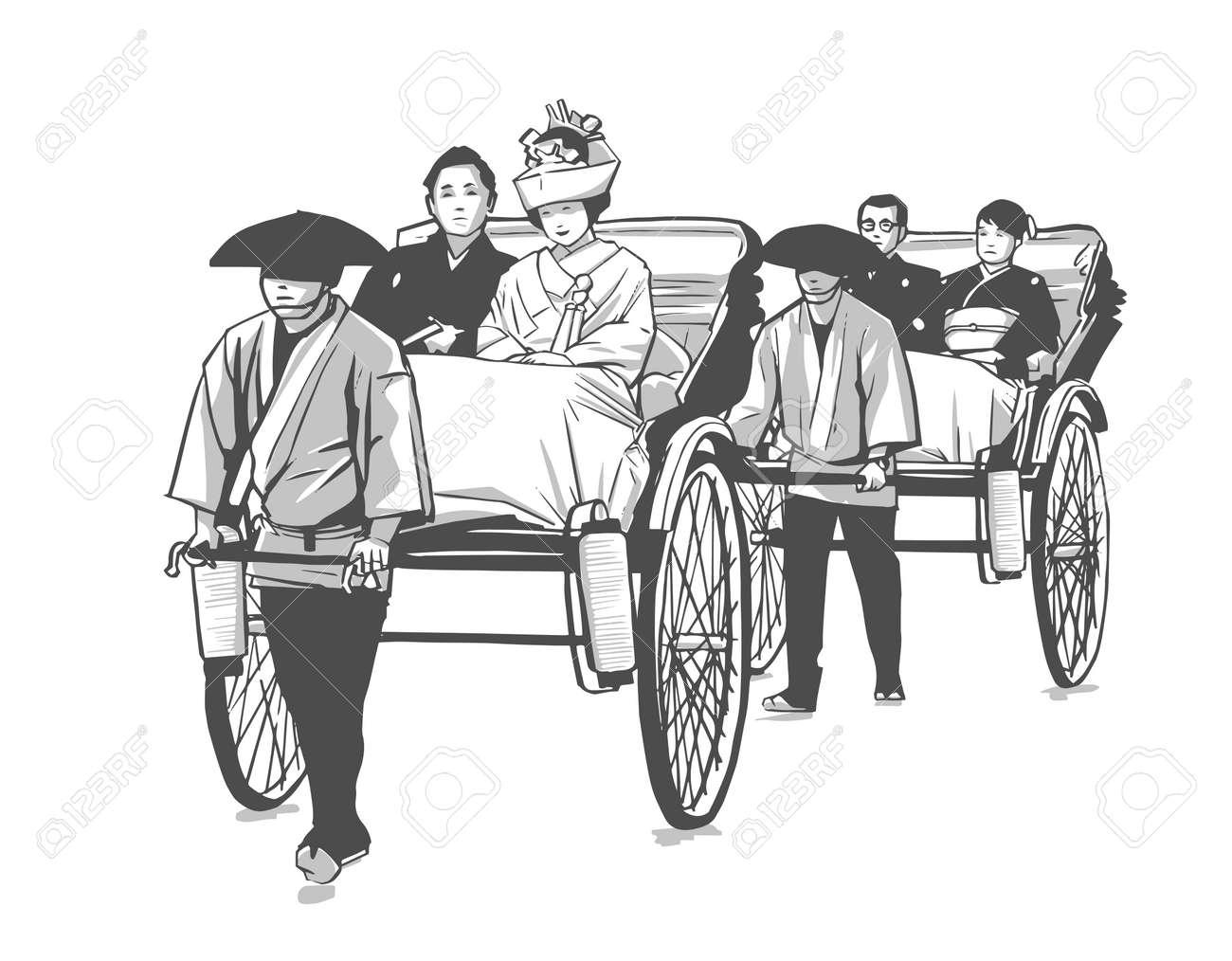 Illustration of traditional Japanese wedding, pulled rickshaw, groom and bride - 127290630