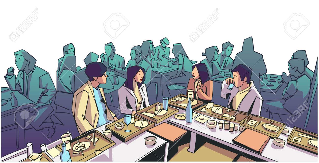 Illustration of group of people friends students conversation studying in pub bar restaurant izakaya - 142041467