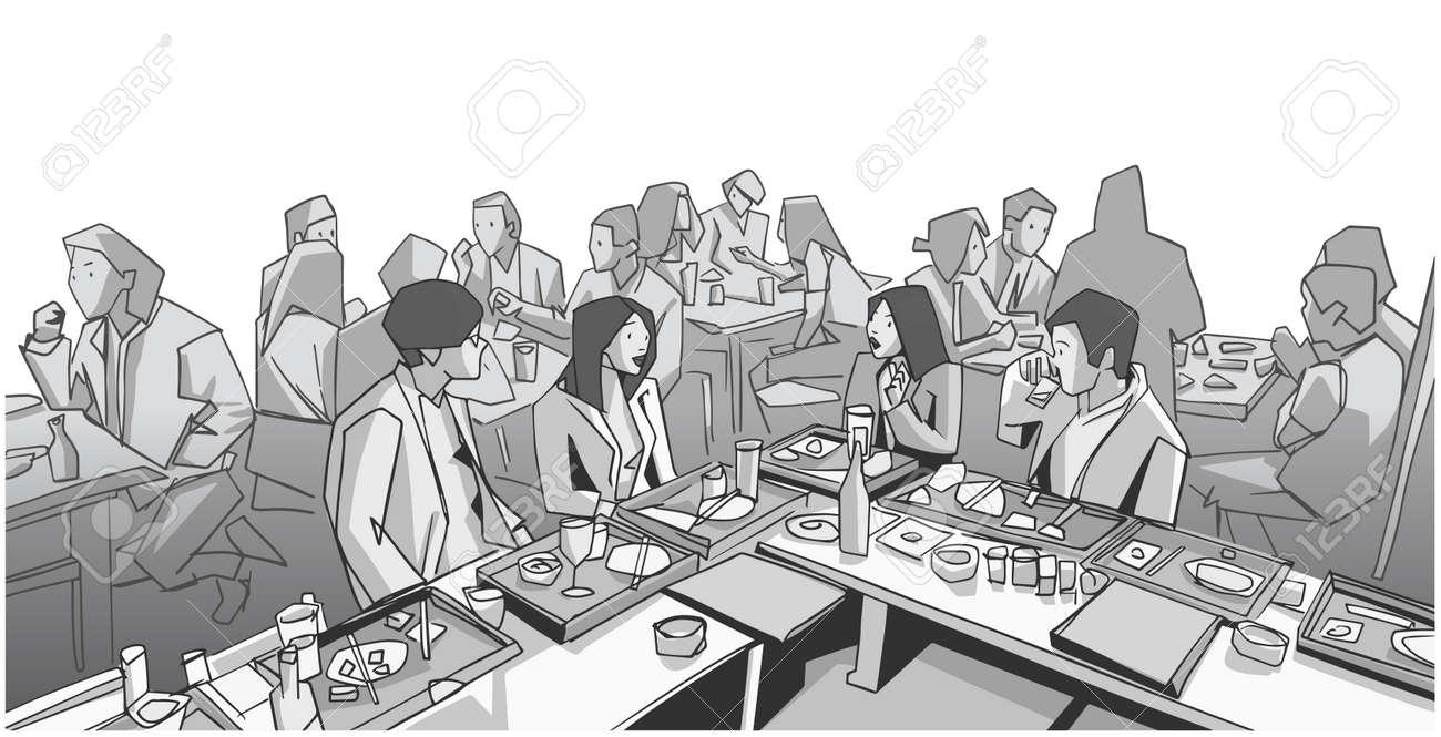 Illustration of group of people friends students conversation studying in pub bar restaurant izakaya - 142041469