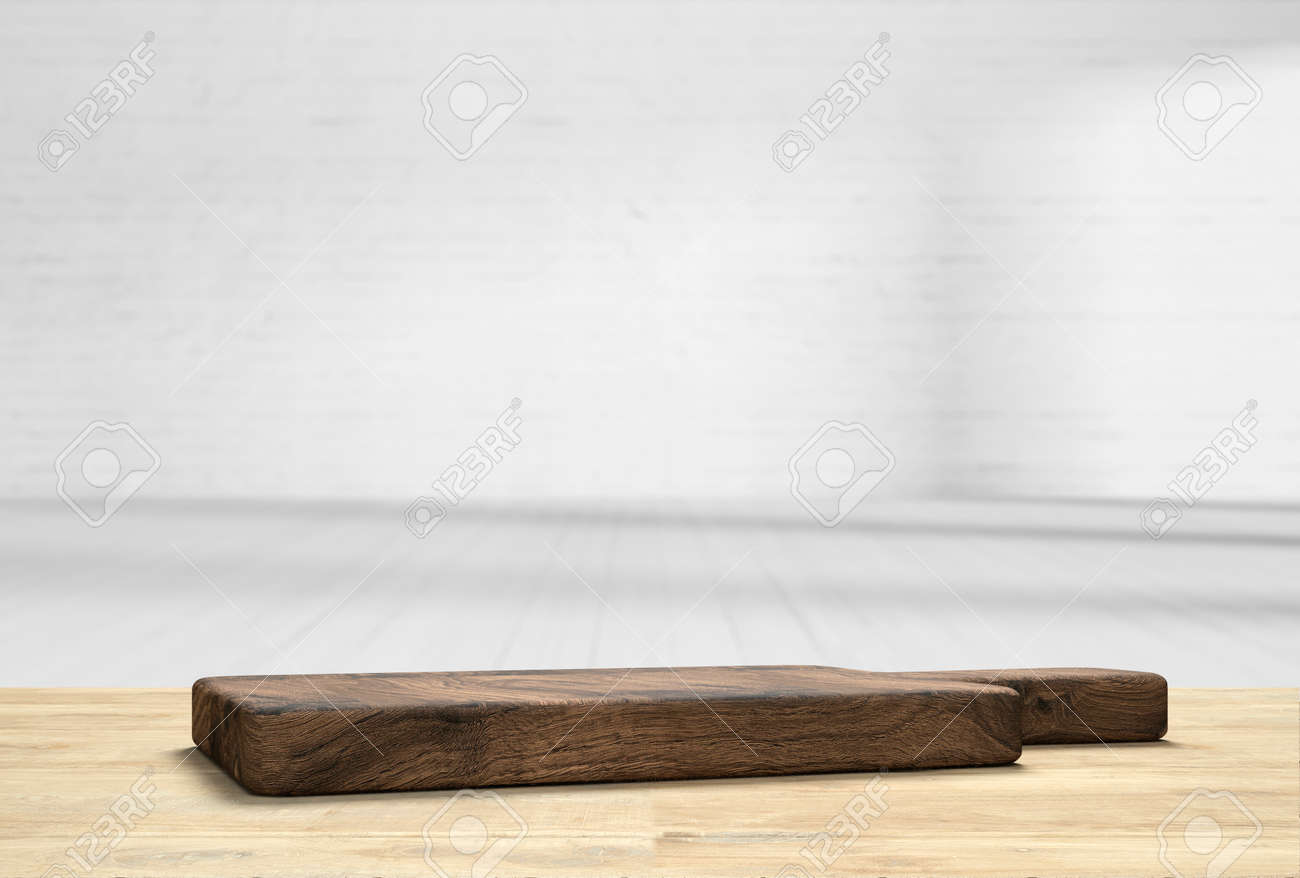 wooden table top with cutting board in front of blurred kitchen   9D  illustration