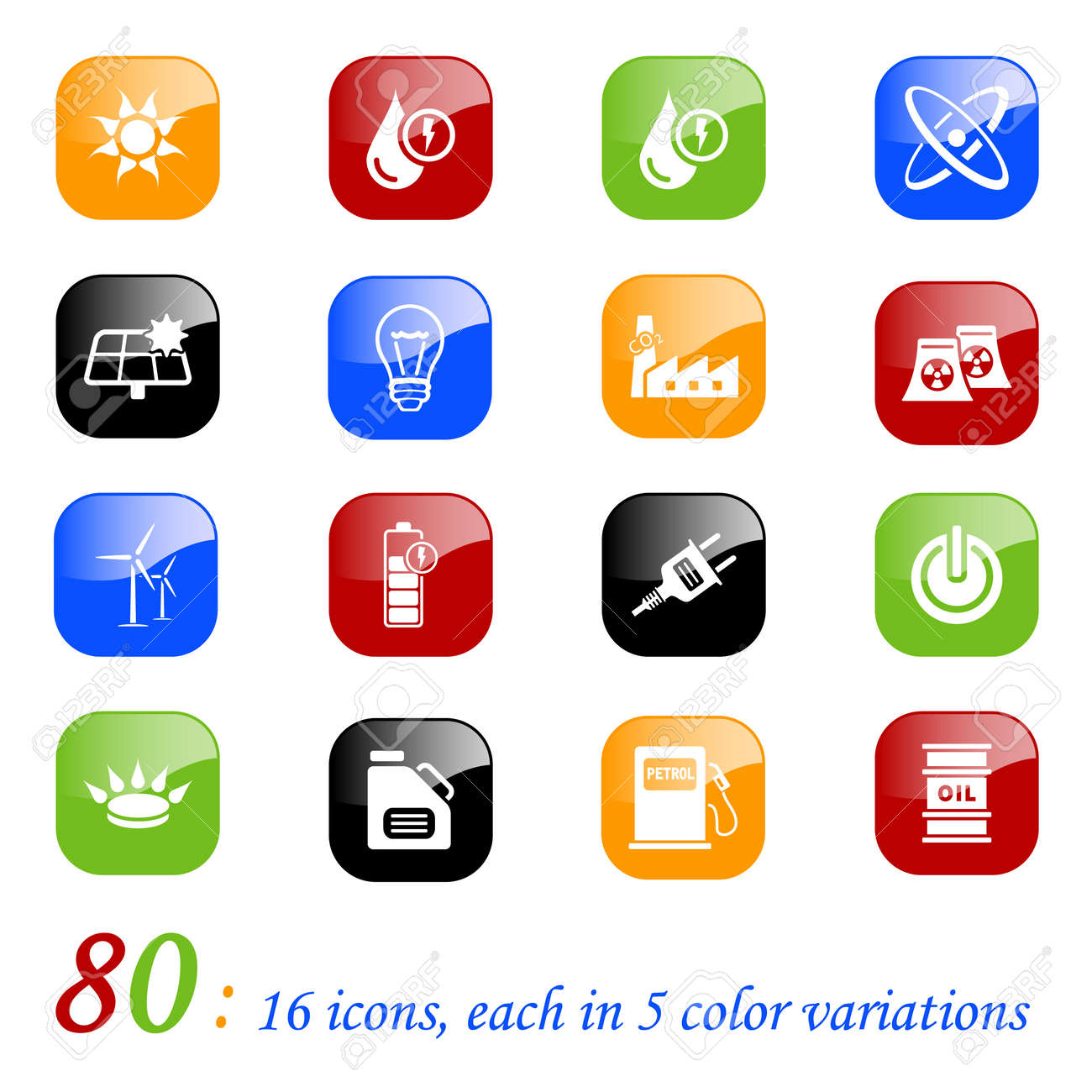 Energy icons, color series Stock Vector - 10699714