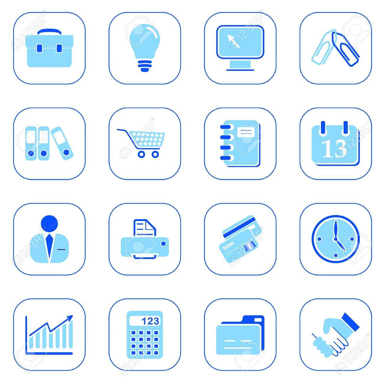 Business icons, blue series Stock Vector - 10804853