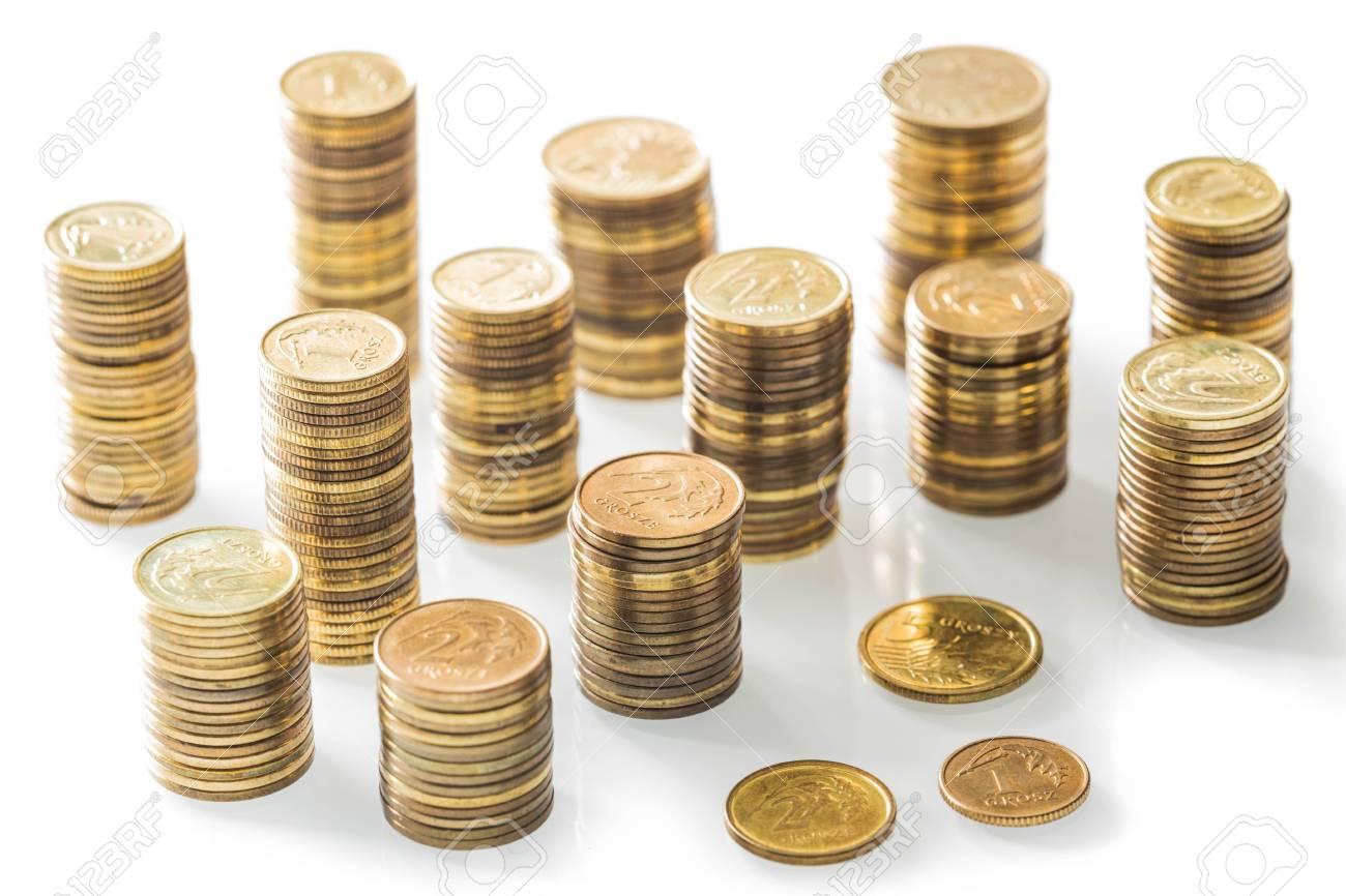 Stapel Von Kleinen Münzen Polnisches Geld Auf Dem Weißen