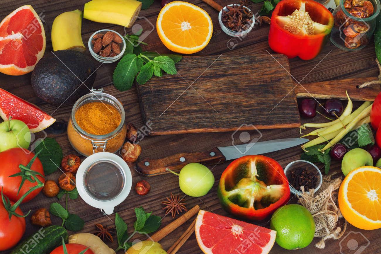 healthy food clean food selection fruits vegetables seeds