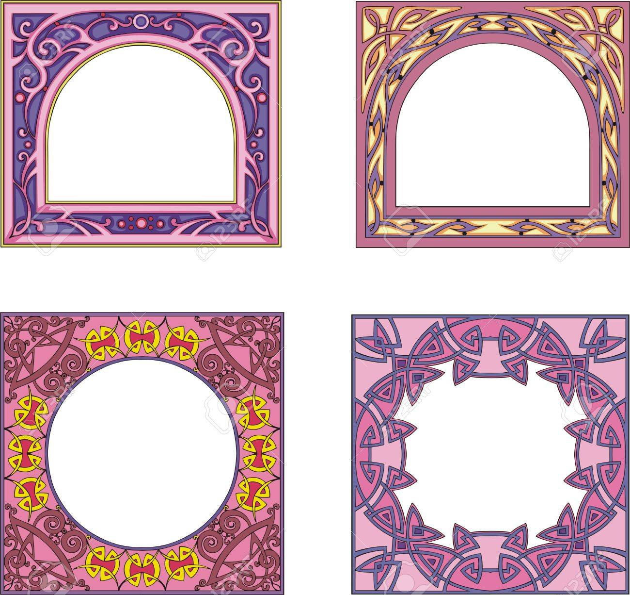 Four ornamental colorfull frames for book or other product covers and booklets. Square form with arched or round center. Vector vinyl-ready EPS Illustrations. Stock Vector - 8432155