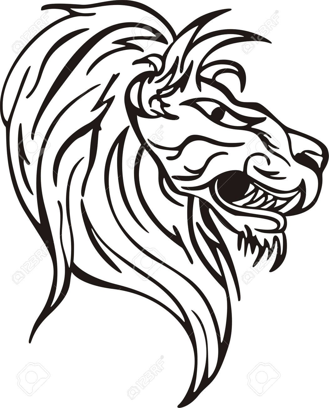 Simple Lion Head Design Vinyl Ready Eps Illustration Black