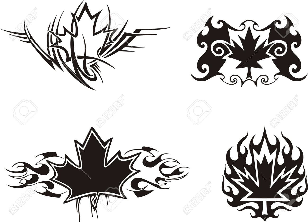 Four Canadian maple leaf flame & tattoo designs.  Vinyl-ready EPS Illustrations, black and white sketches. Stock Vector - 8432205