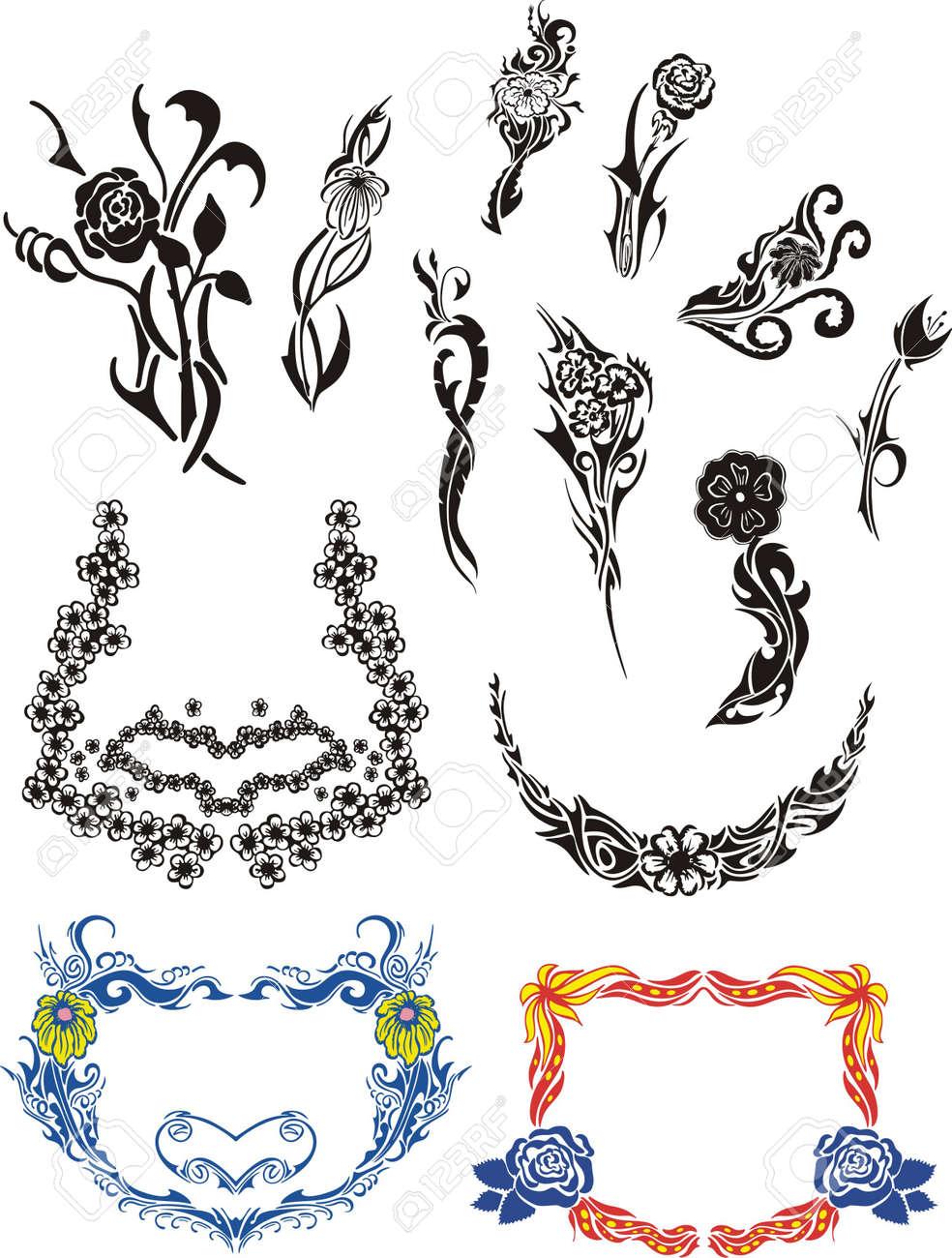 Flower Art Nouveau Patterns Stock Vector - 13572235