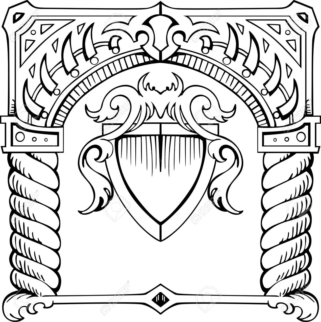 Frame in form of arch with shield. Black and white illustration. Stock Vector - 13607441