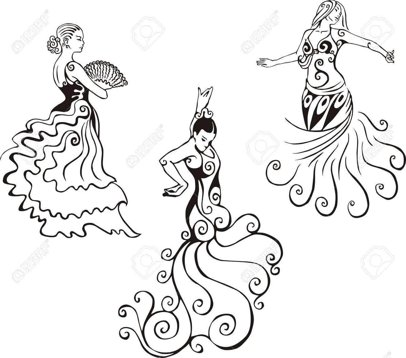 Women in hispanic dance. Set of black and white vector illustrations. Stock Vector - 13734775