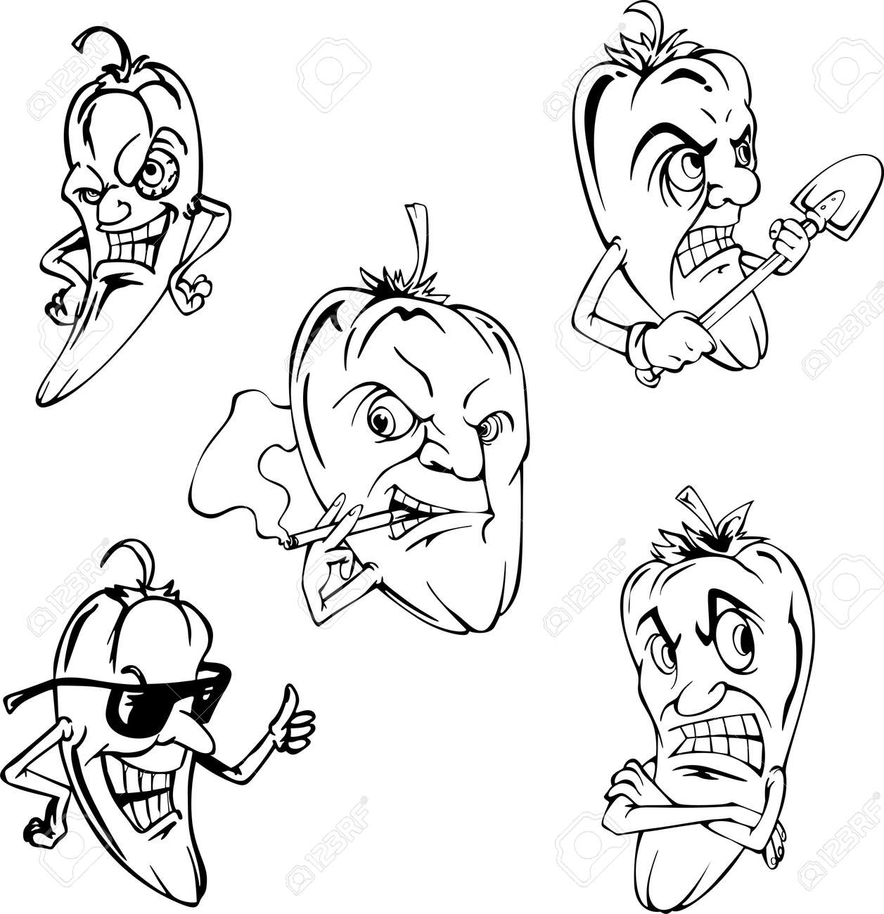 Hot peppers. Set of black and white vector cartoon illustrations. Stock Vector - 13755157
