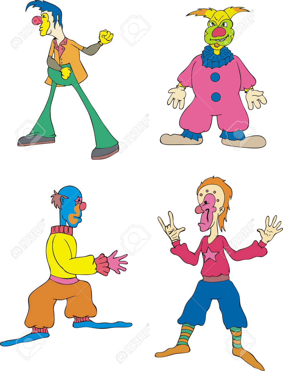 Funny Clowns. Set of Color Stock Vector - 14015260