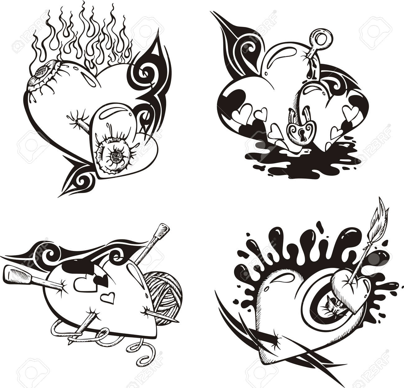 Stylized Tattoos with Hearts. Stock Vector - 14176515