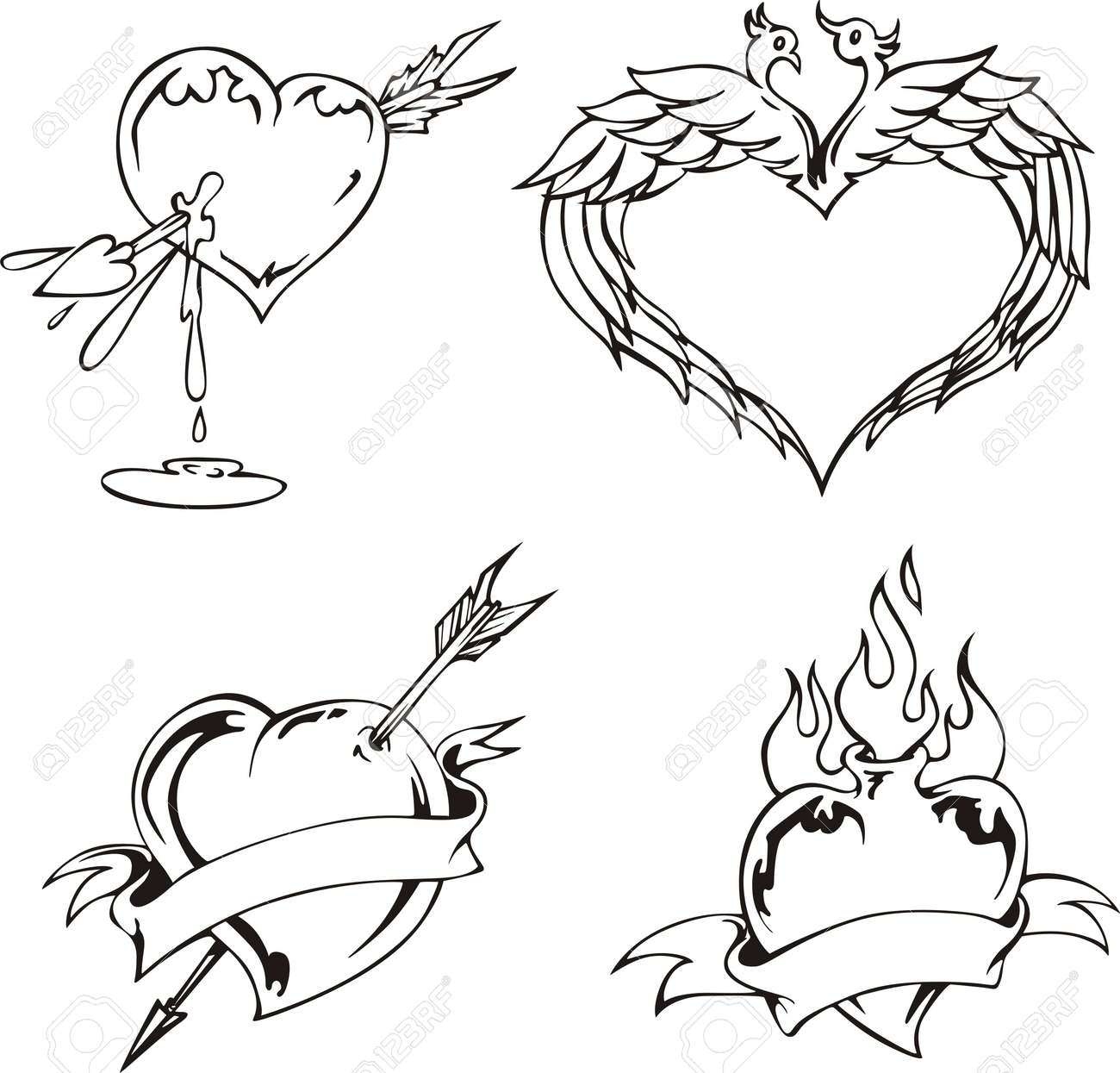 Love designs with hearts. Set of black and white illustrations. Stock Vector - 14744388