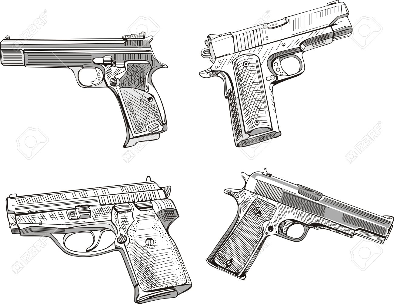 Pistol sketches set of black and white vector illustrations stock vector 14744907