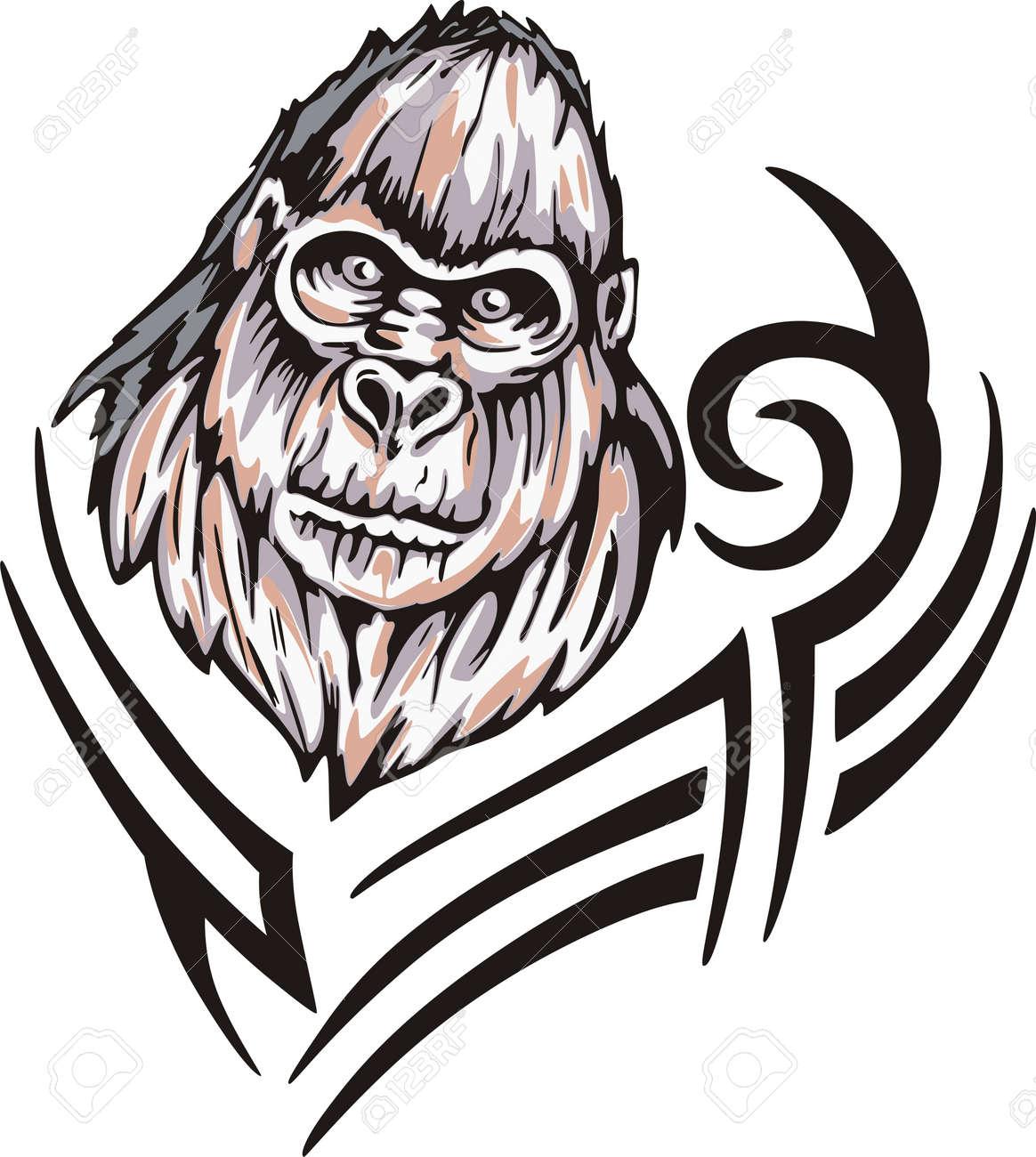 Tattoo with gorilla head. Color vector illustration. Stock Vector - 14953068