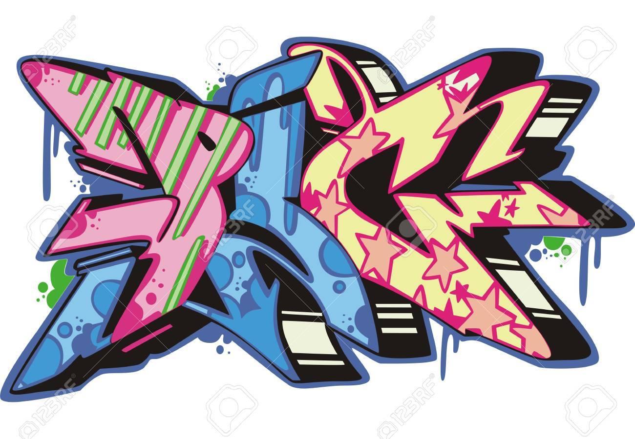 Graffito text design - pig. Color vector illustration. Stock Vector - 14953036