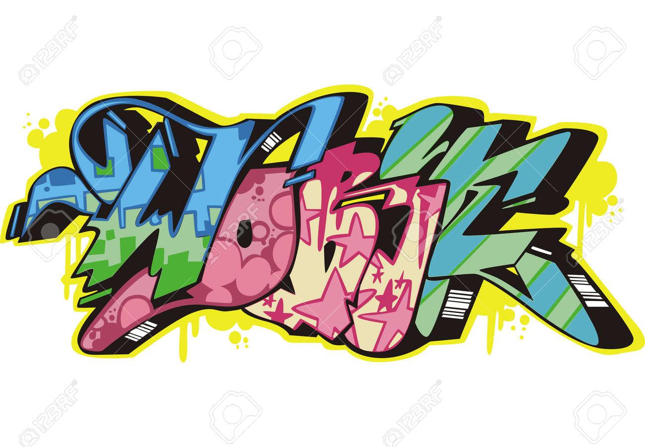 Graffito text design - work. Color vector illustration. Stock Vector - 14953035