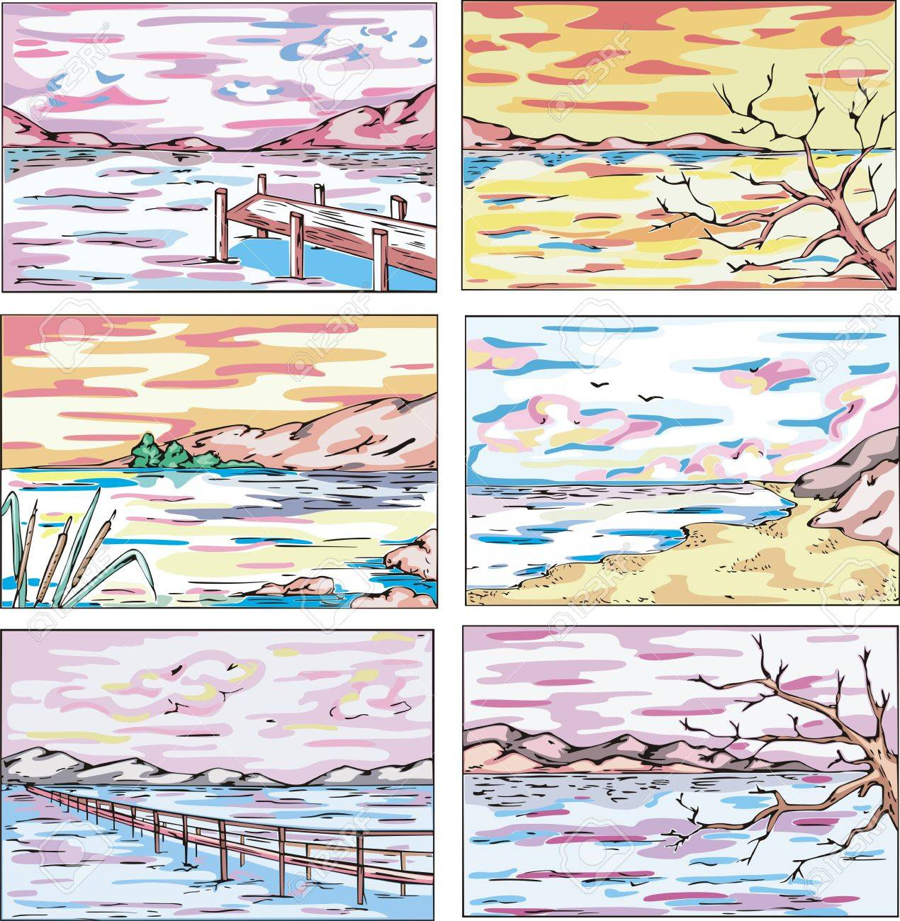 Sketches of coastal landscapes with trees. Set of vector illustrations. Stock Vector - 15101442