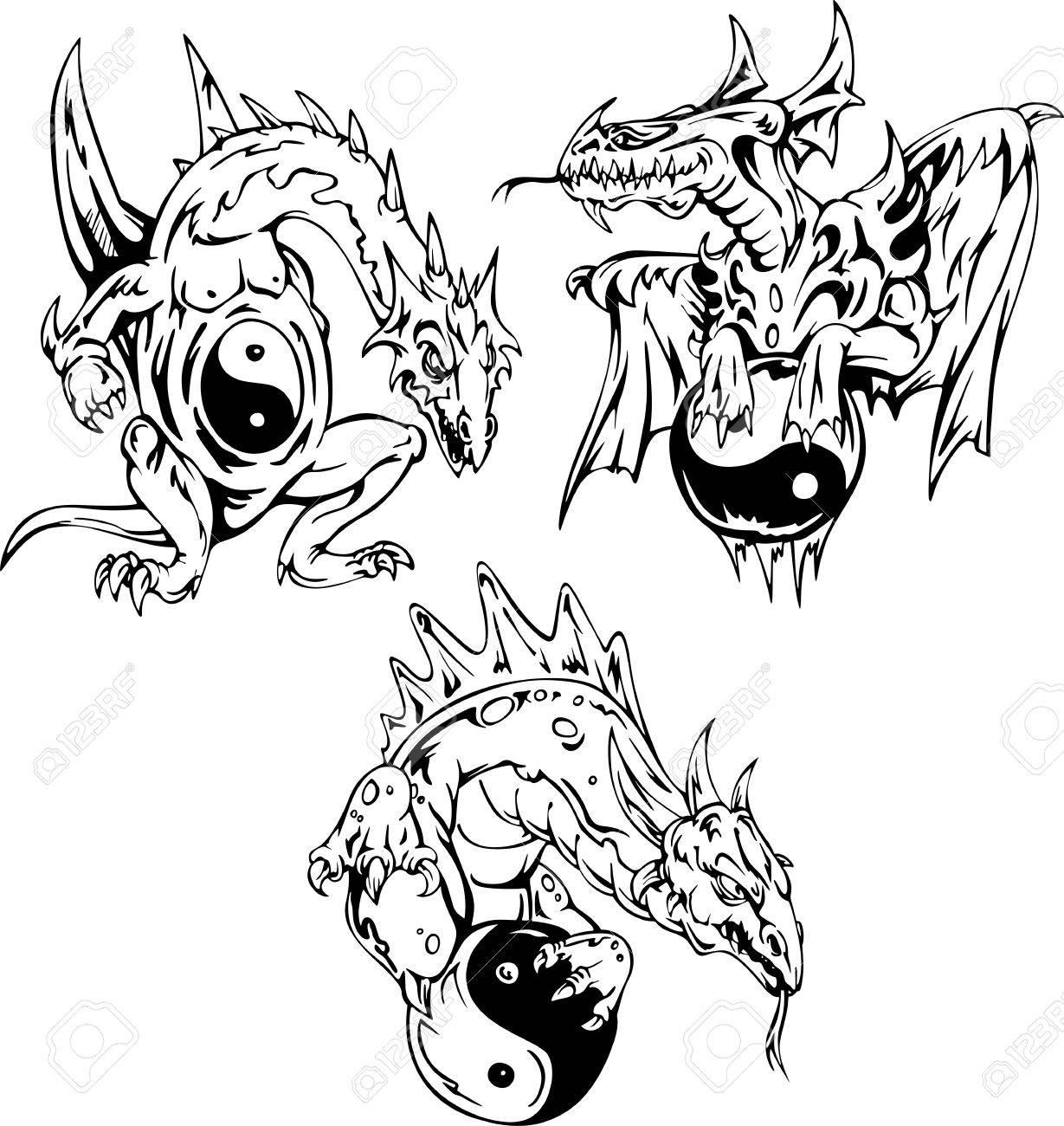 Dragon tattoos with yin-yang signs. Set of vector illustrations. Stock Vector - 15783283