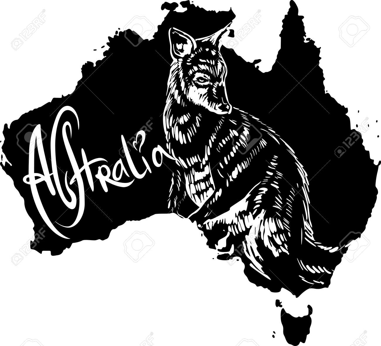 Wallaby on map of Australia. Black and white vector illustration. Stock Vector - 15783339