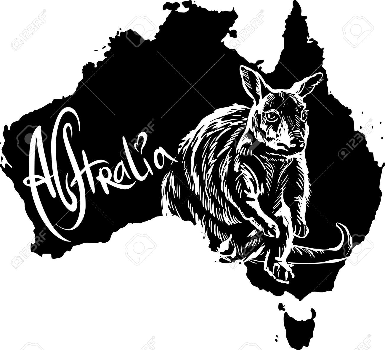 Wallaby on map of Australia. Black and white vector illustration. Stock Vector - 15783329