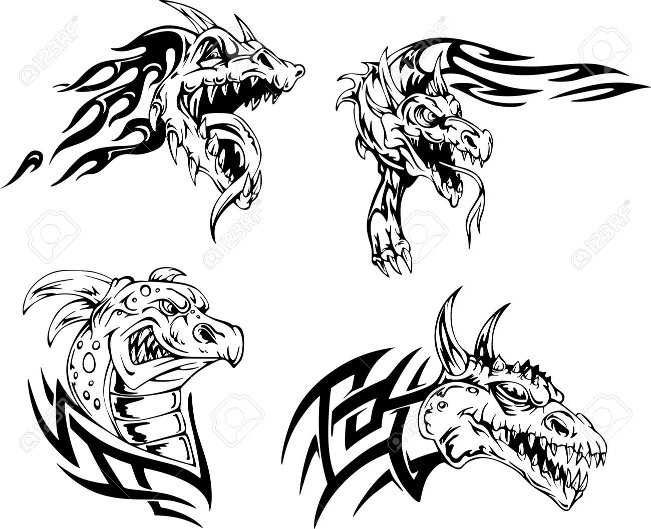 Dessin Dragon Tatouage dragon de têtes - dessins de tatouage. set d'illustrations