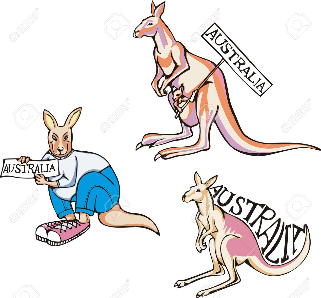 Australia - kangaroos. Set of color vector illustrations. Stock Vector - 16331239