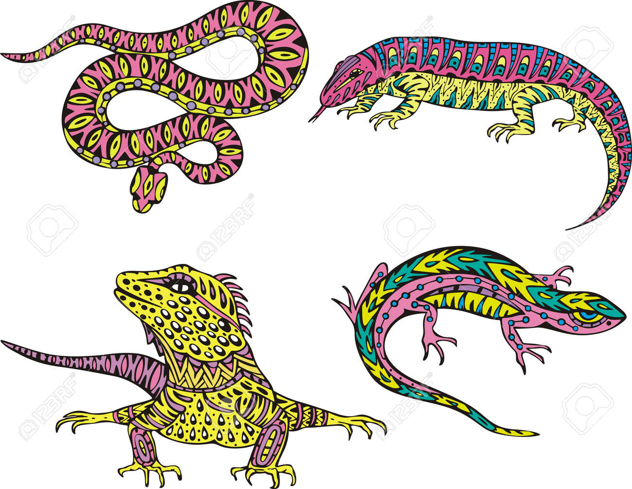 stylized motley snake and lizards set of color vector illustrations
